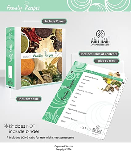 Family Recipe Organizer LONG Index Tabs For Three Ring Binder With Cover Amazonca Home Kitchen