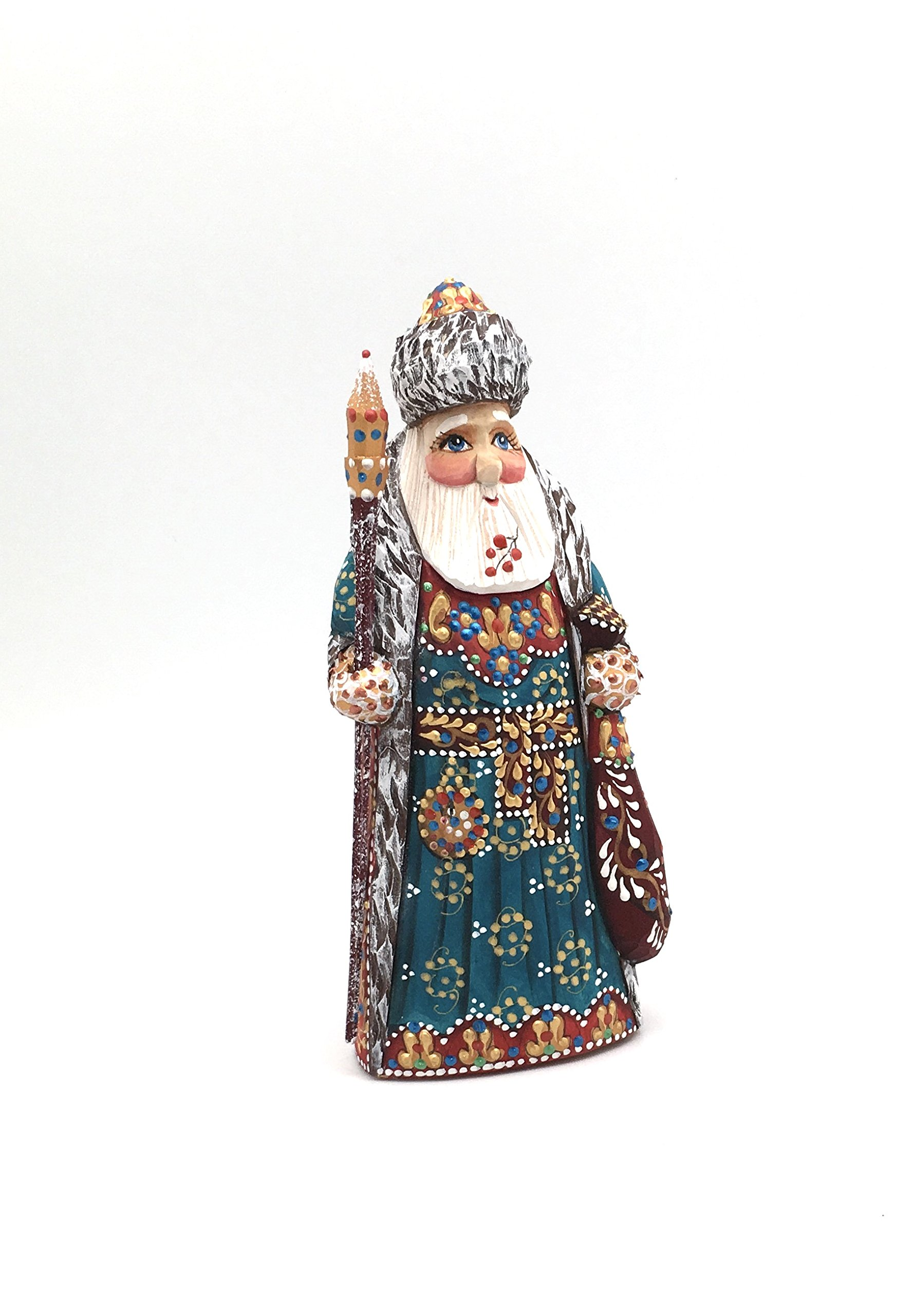 Russian SANTA Wood Hand Carved Hand Painted Signed by artist