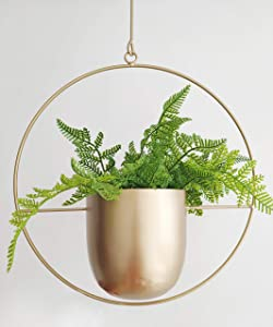 RISEON Boho Gold Metal Plant Hanger,Metal Wall and Ceiling Hanging Planter, Modern Planter, Mid Century Flower Pot Plant Holder, Minimalist Planter for Indoor Outdoor Home Decor (Round Shape, Gold)