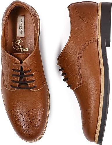 Vegan Shoes Mens Signature Brogues Tan