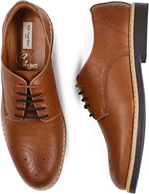 Will's Vegan Shoes Mens Signature Brogues Tan & Dark Brown