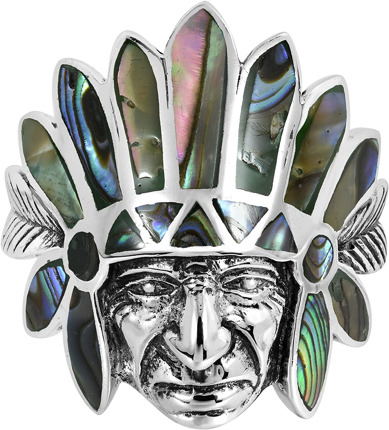 AeraVida Native American Style Abalone Shell Inlay .925 Sterling Silver Ring