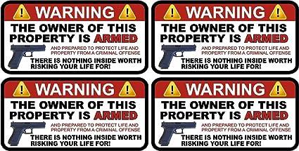 - X2 Owner is Armed Warning  2nd Amendment Guns Firearm Sticker Decal