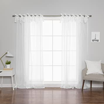 Amazoncom Best Home Fashion Sheer Voile Curtains Tie Top White
