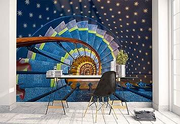 Papel Tapiz Fotomural - Escalera De Caracol Alfombra Talones Pared Estrellas - Tema Arquitectura - MUESTRA - 104cm x 70.5