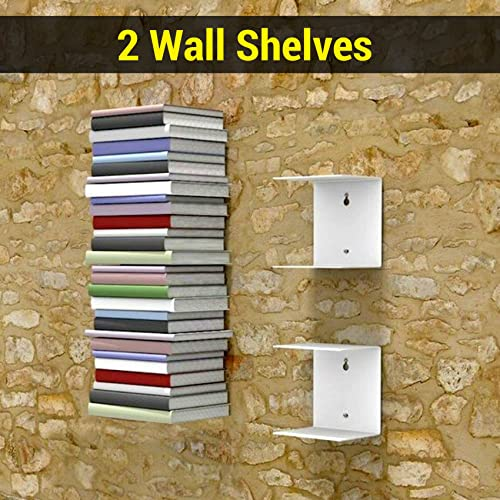 8. TIED RIBBONS Book Shelf Wall Mounted Heavy Duty Metal Invisible Book Shelves for bedrooms Living Room Office Study Room Home Decorations (Set of 2 Book Shelves, White, Metal)
