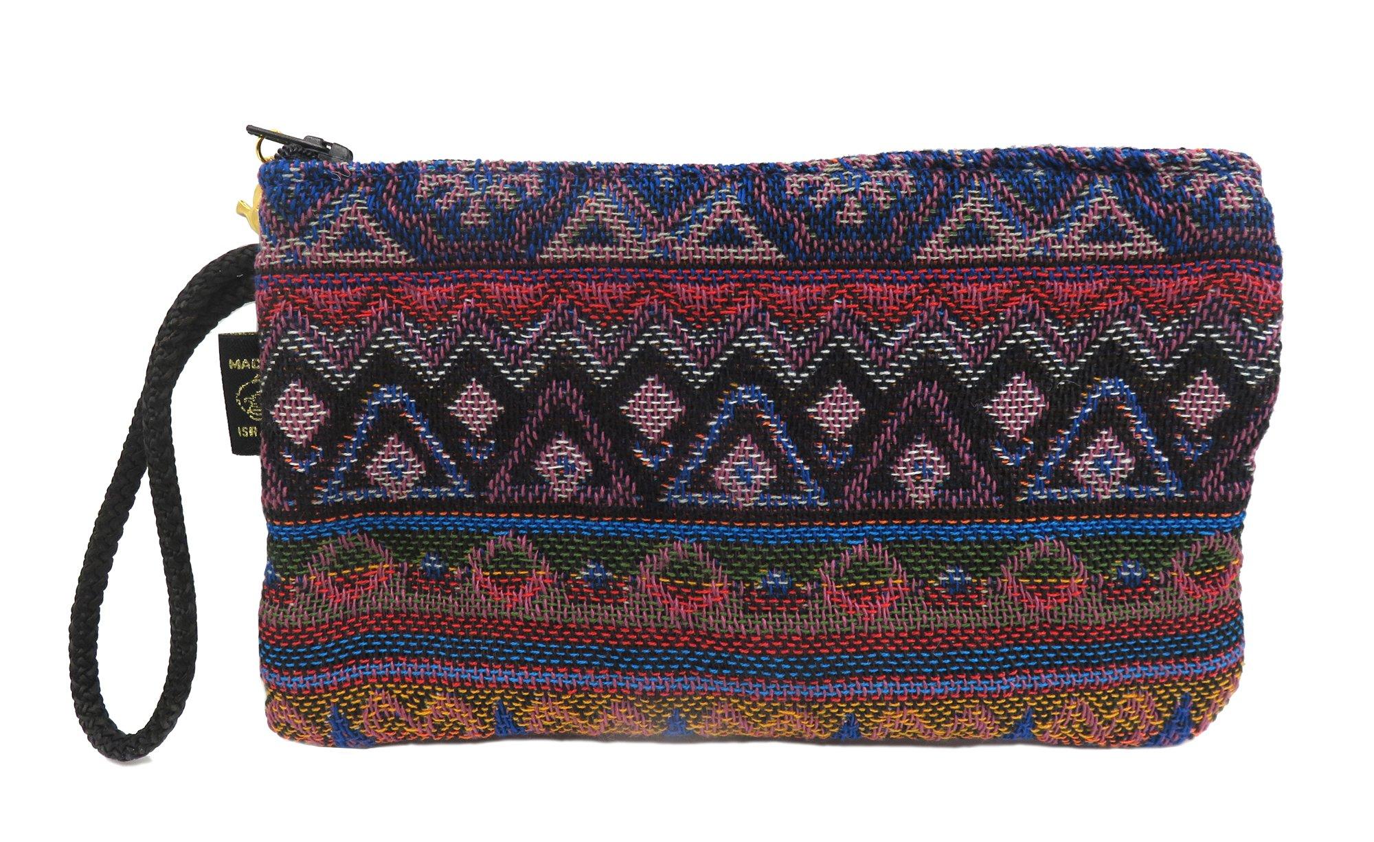 Ethnic Handmade druze wristlet weave pouch & eyeglass pouch with zipper smart phone zipper pencil pouch (Purple Blue)