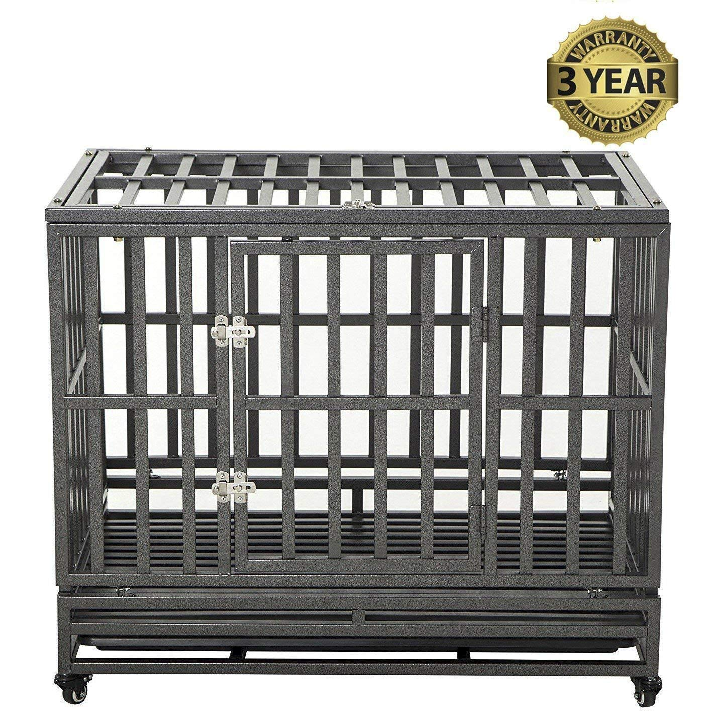 Black 96.52 cm Black 96.52 cm LUCKUP 38 Inch Heavy Duty Dog Cage Strong Metal Kennel and Crate for Large Dogs,Easy to Assemble Pet Playpen with Four Wheels,Black