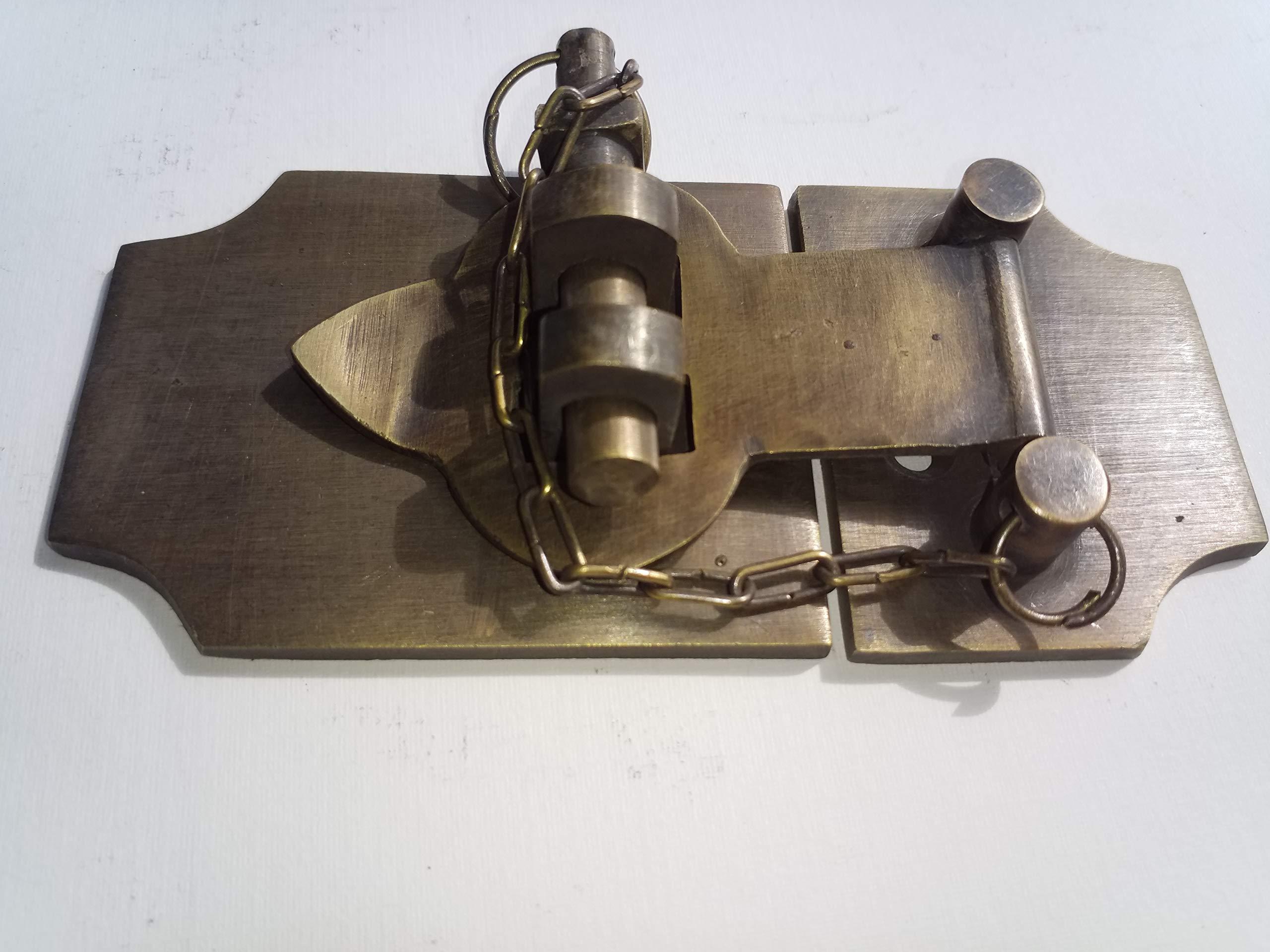 Unique Vintage Style Cabin Cabinet Door Latch Hook Solid Brass Hasp Lock Gate 4'' #X2