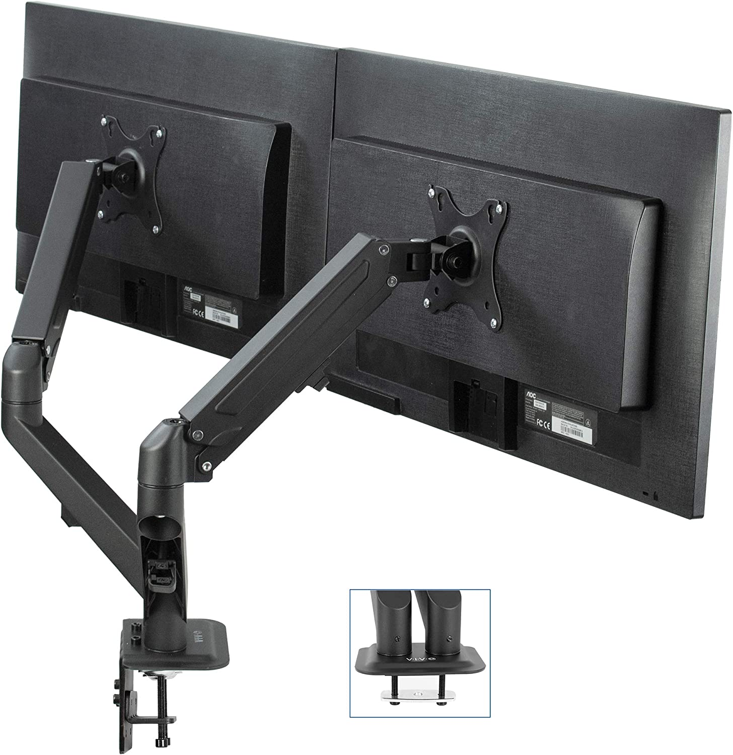 VIVO Black Articulating Dual Pneumatic Spring Arm Clamp-on Desk Mount Stand, Fits 2 Monitor Screens 17 to 27 inches with Max VESA 100x100 (STAND-V102O)