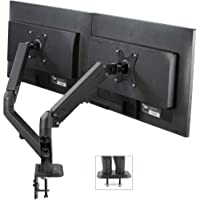 VIVO Black Articulating Dual Pneumatic Spring Arm Clamp-On Desk Mount Stand | Fits 2 Monitor Screens 17 to 27 Inches…