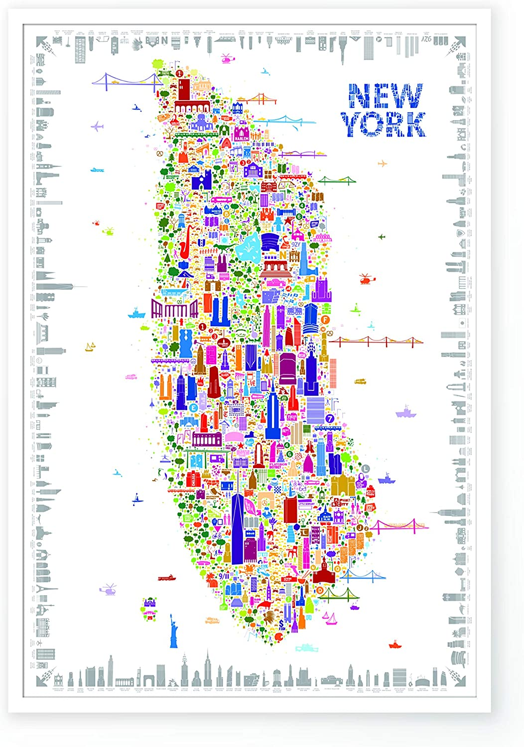 "Iconic New York Poster Artwork For Home Walls – Designer Wall Art of Trendy NYC Map | City Fashion Decor Travel Posters | Maps Souvenirs Paper Prints For Office 27x40"" Unframed – By Alfalfa New York"