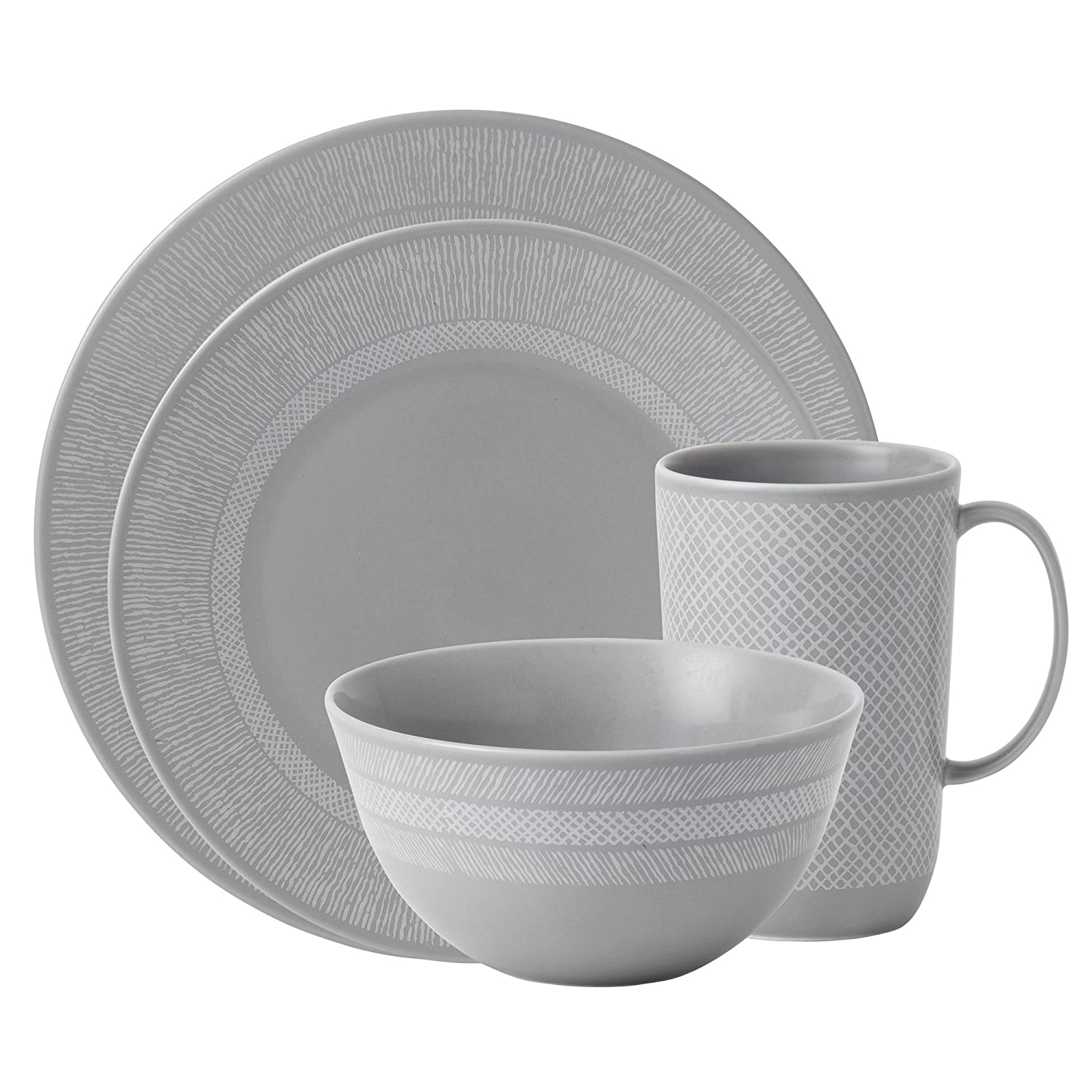 amazoncom wedgwood vera wang simplicity gray 4piece place setting dinnerware sets dinnerware sets