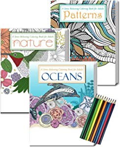 ZOCO Gift Pack: 3 Adult Coloring Books & Coloring Pencils Set - Oceans Coloring Book, Nature Coloring Book, Patterns Coloring Book - Includes 10 Pre-sharpened Colored Pencils
