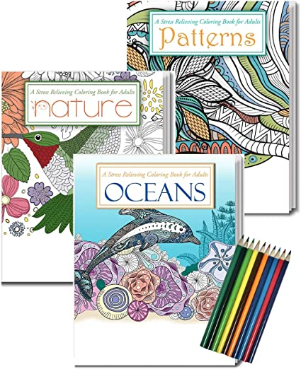 - Amazon.com: Gift Pack: 3 Adult Coloring Books & Coloring Pencils Set -  Oceans Coloring Book, Nature Coloring Book, Patterns Coloring Book -  Includes 10 Pre-sharpened Colored Pencils