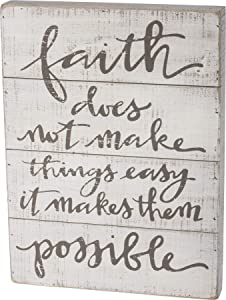 Primitives by Kathy Hand Lettered Slat Wood Sign, 12 x 16-Inches, Faith Makes Them Possible
