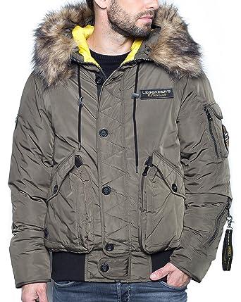 Legenders - Blouson Kaki Homme zippé à Capuche Fourrure  Amazon.fr   Vêtements et accessoires ed7fa26461bb