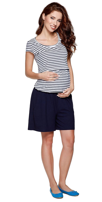 hochwertige Baumwolle Modell: Noel Umstandsshirt//Stillshirt und Shorts in Einem Mama 2in1 Umstandsoverall Be