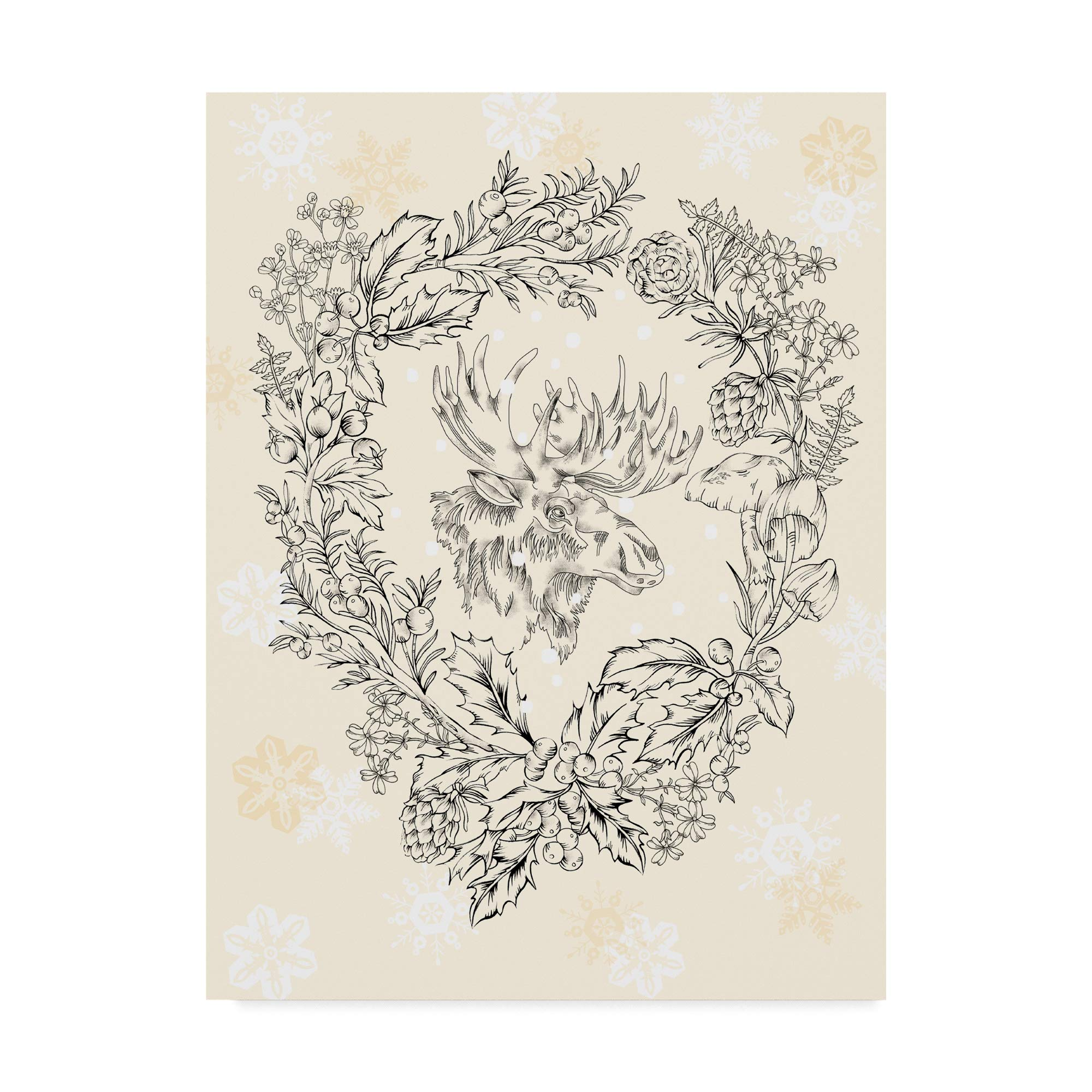 Trademark Fine Art Moose Wreath by Lisa Powell Braun, 24x32-Inch