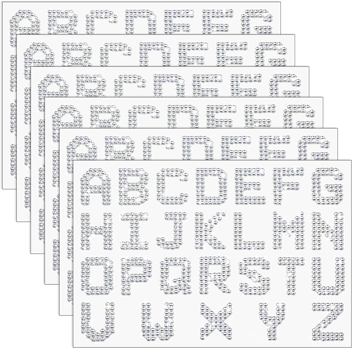 8 Sheets Rhinestone Alphabet Letter Stickers Self-Adhesive Glitter Alphabet Stickers 26 Letters Stickers DIY Decoration A-Z Stickers for Art and Crafts Supplies, Silver