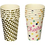 Talking Tables Party Time Big Cups (12 Pack), Multicolored