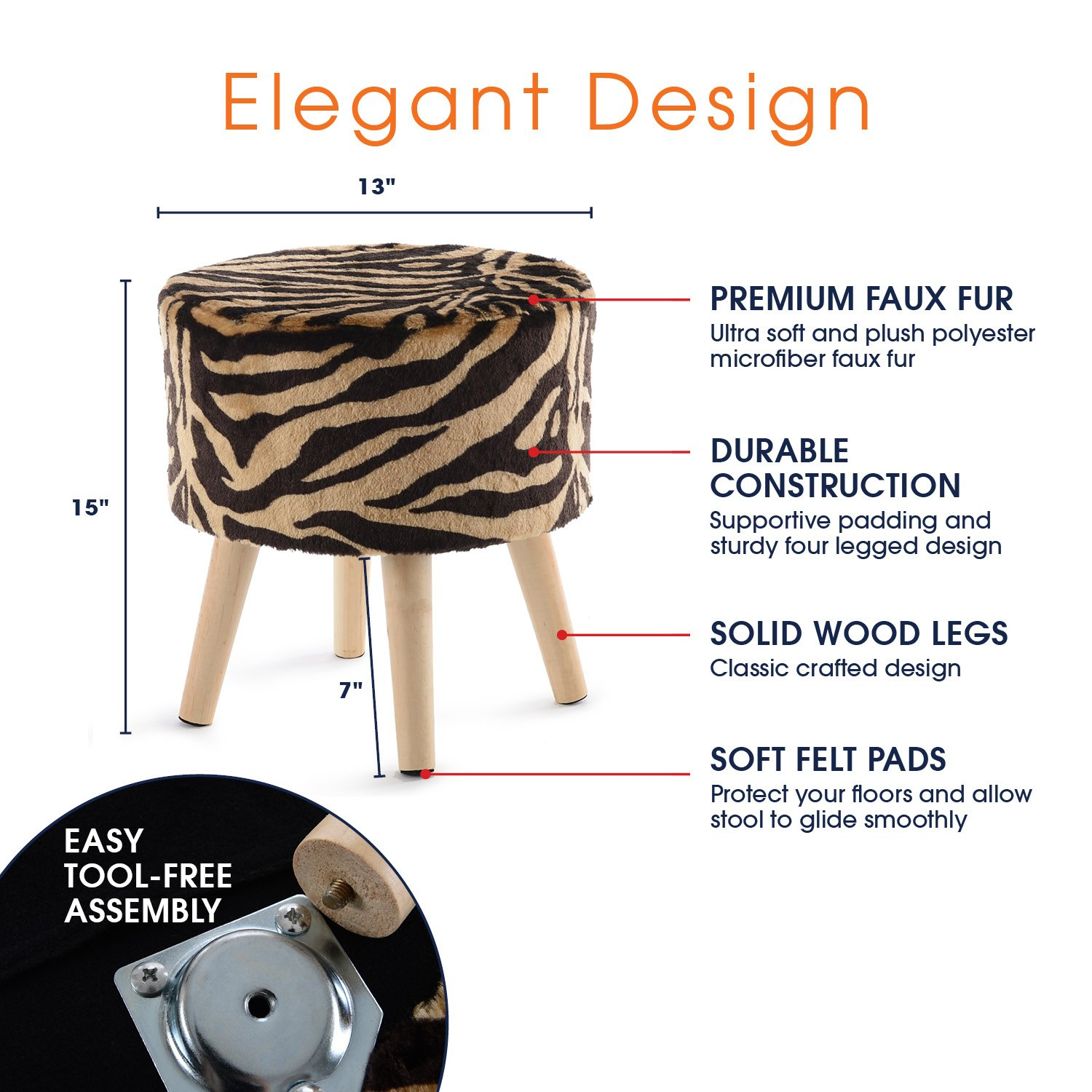 Cheer Collection 13'' Round Ottoman | Super Soft Decorative Tiger Print Faux Fur Foot Stool with Wood Legs by Cheer Collection (Image #3)