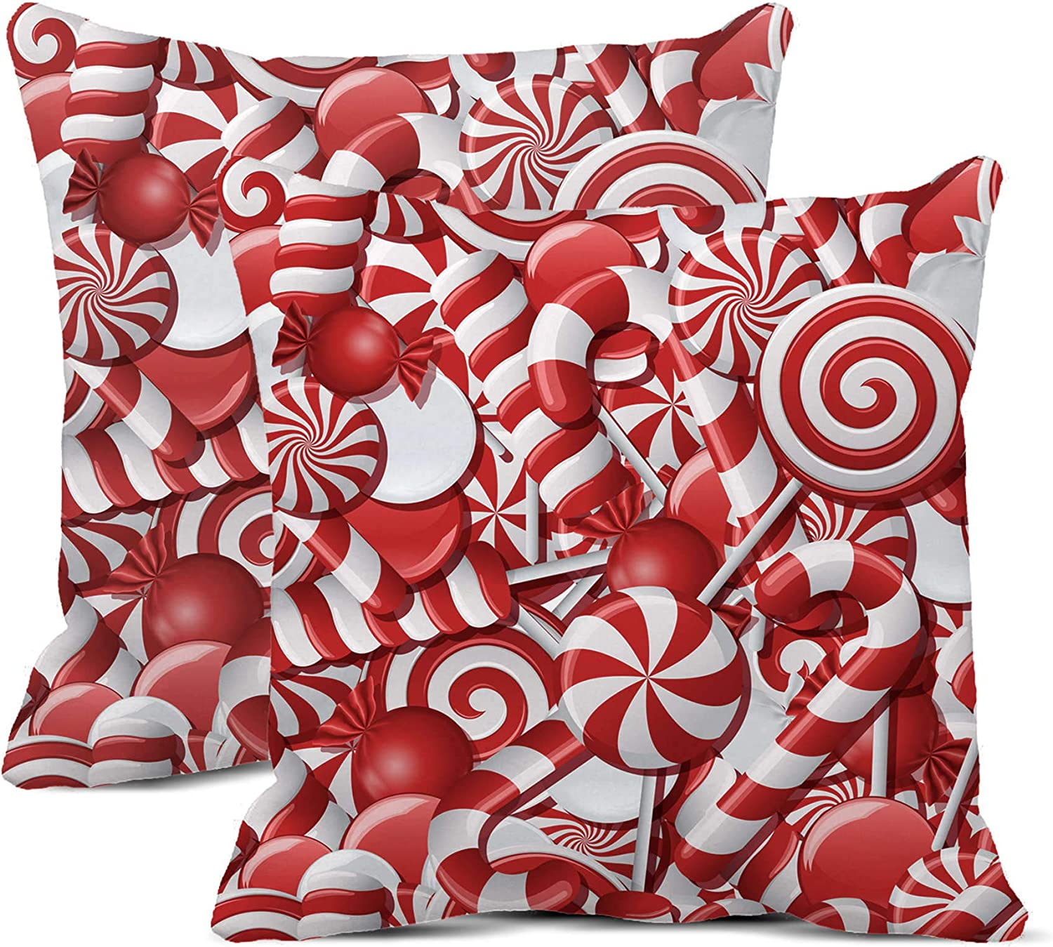 rouihot Set of 2 Throw Pillow Covers 16x16 Inch with Different Red and White Candies Font Candy Christmas Xmas ABC Alphabet Cane Home Decor Pillowcases Square Cushion Covers for Sofa Bed