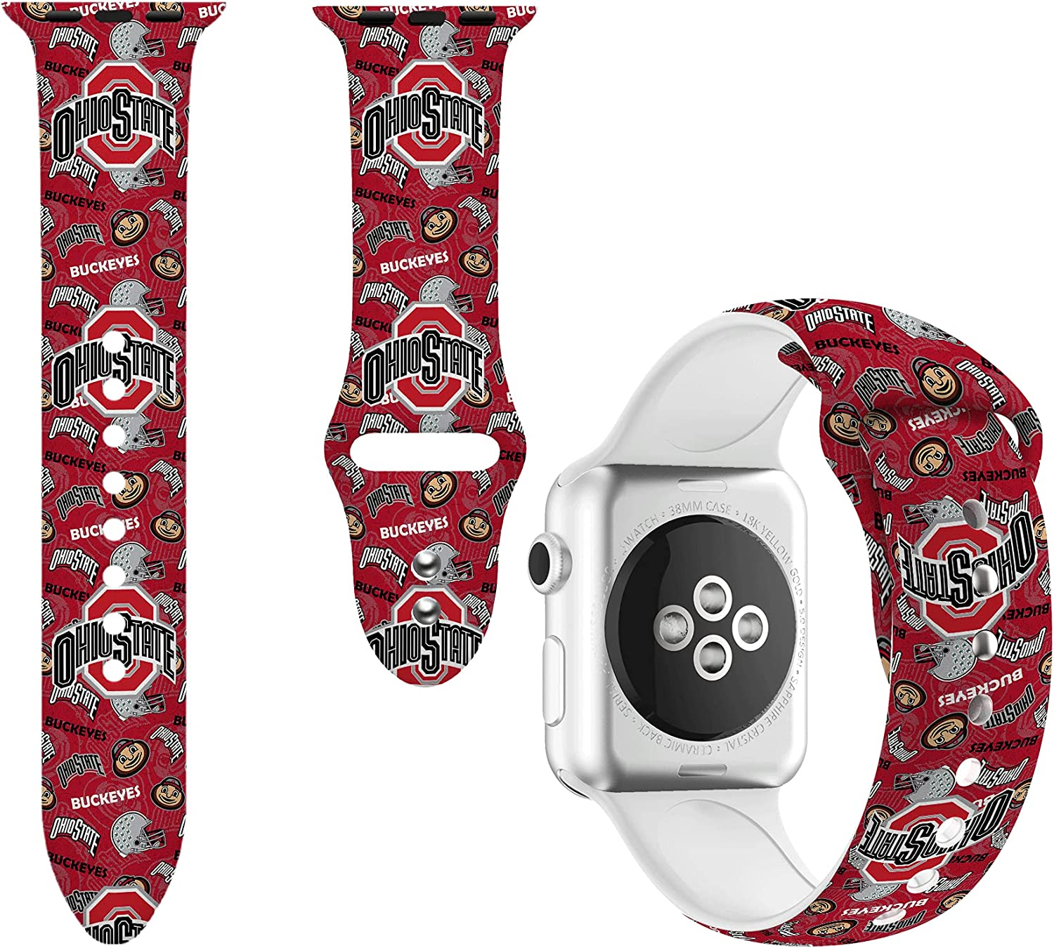Sport Bands Compatible with Apple Watch Bands 38mm 40mm 42mm 44mm,Soft Silicone State Strap Wristbands for iWatch SE Series 3 Series 5 Series 6 Series 4 Series 2 Series 1