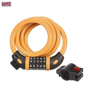 5 Digit Combination Bike Lock 12mm Keyless Colors: Black Green Orange