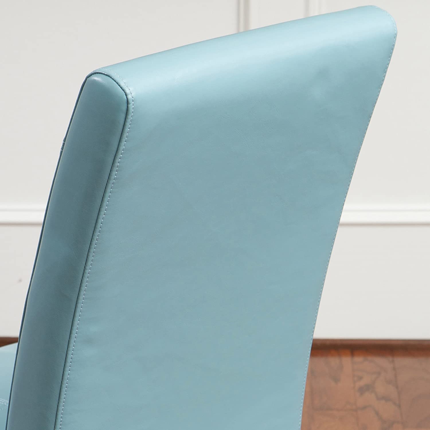 Amazon Stella Teal Blue Leather Dining Chair Set of 2 Chairs