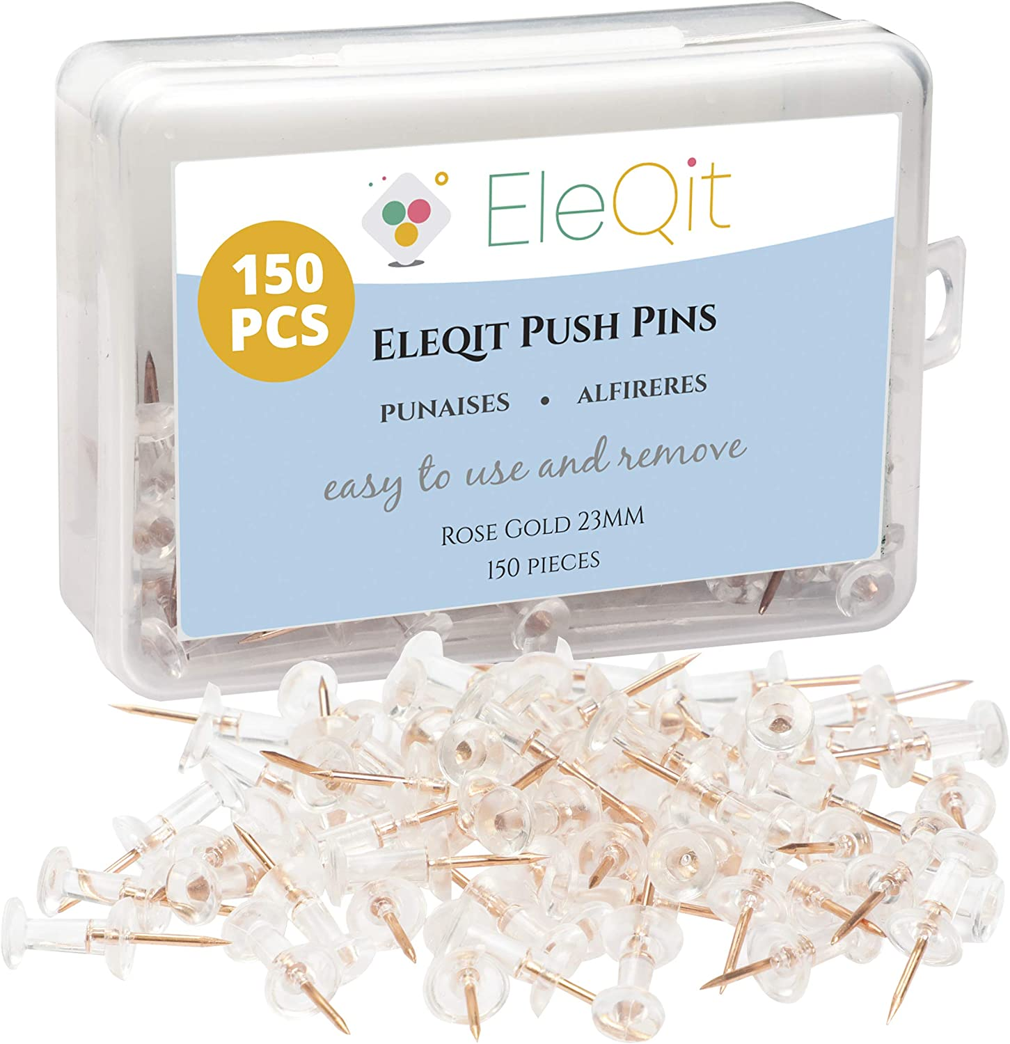EleQit Push Pins 150 Pcs - Clear Plastic Head with Rose Gold Steel Point Used as Thumb Tacks on Maps, Bulletin Boards, Walls, Home, Room Decor, Office or Dorm Essentials