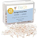 EleQit Push Pins 150 Pcs - Clear Plastic Head with Rose Gold Steel Point Used as Thumb Tacks on Maps, Bulletin Boards…