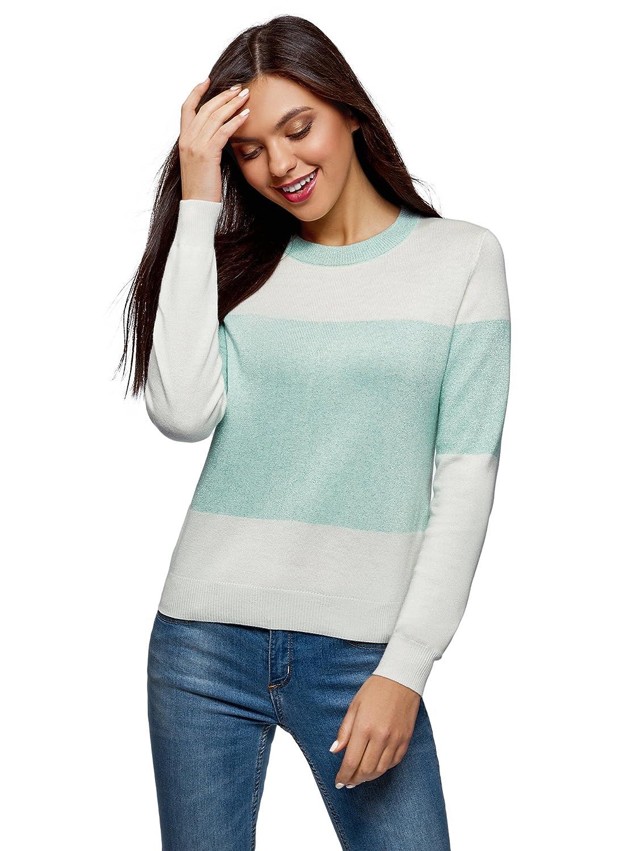 oodji Ultra Damen Zweifarbiger Pullover mit Rundem Ausschnitt