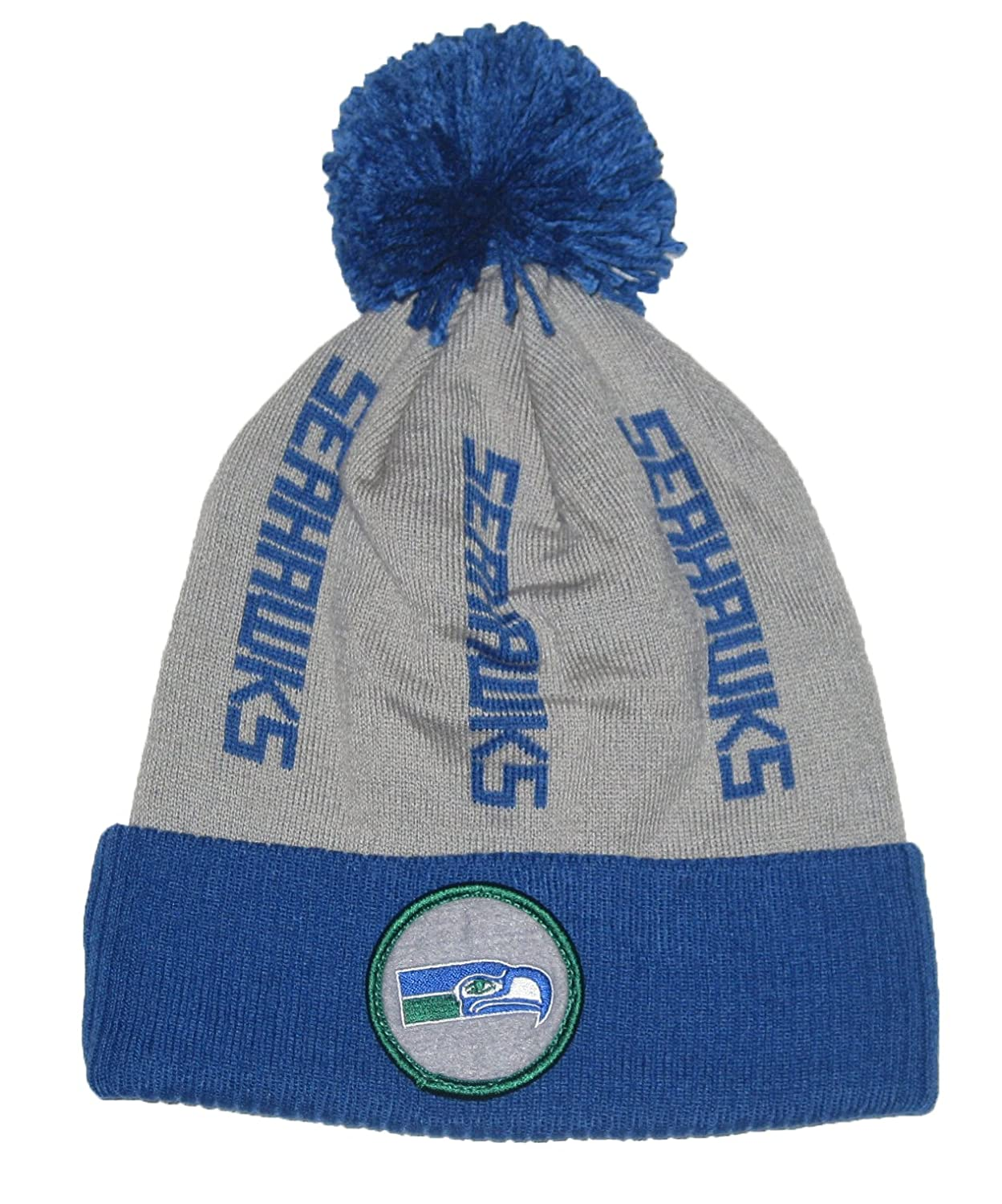 5ab94d34b10 Amazon.com   Mitchell   Ness Seattle Seahawks (TS238) Vintage Sideline Ball  Top Cuffed Knit Beanie Hat   Sports   Outdoors