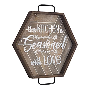 American Art Decor The Kitchen is Seasoned with Love Wood and Metal Sign – Farmhouse Decor