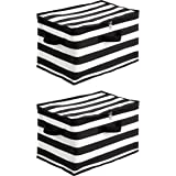 AmazonBasics Canvas Zippered Storage Bag - Stripes, 2-Pack
