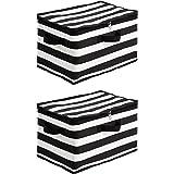 Amazon Basics Canvas Zippered Storage Bag - Stripes, 2-Pack