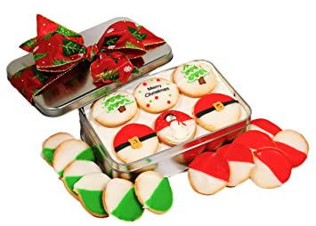 Christmas Cookie Gift Basket Tin Filled With 18 Individually Hand Decorated Christmas Designed Green