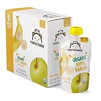 Amazon Brand - Mama Bear Organic Baby Food, Stage 2, Apple Banana, 4 Ounce Pouch...