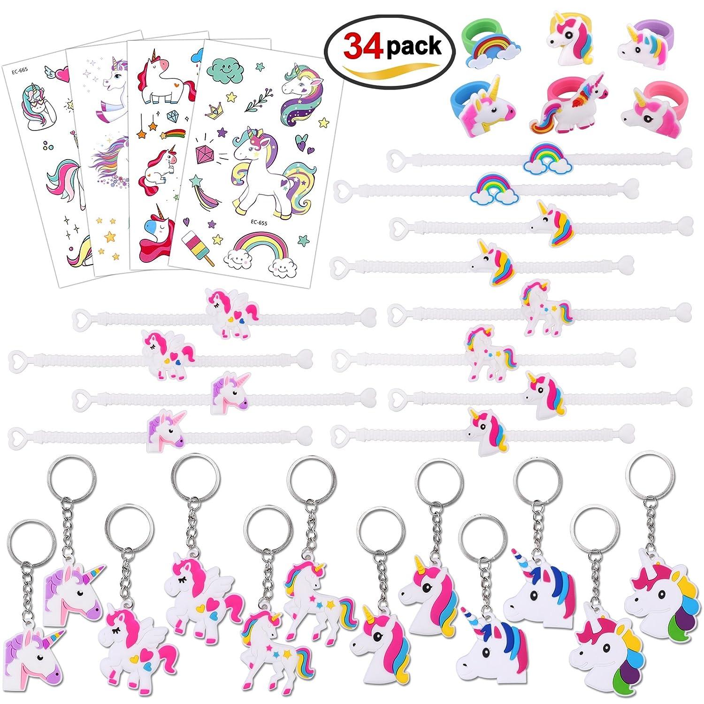 Konsait Unicornio Llavero (12pcs) Unicornio Pulsera de Silicona (12pcs) Anillo (6pcs) Unicornio Tatuajes temporales Pegatinas (4pcs) para Piñata, Fiesta de Cumpleaños Regalo Juguetes para Niños Niñas