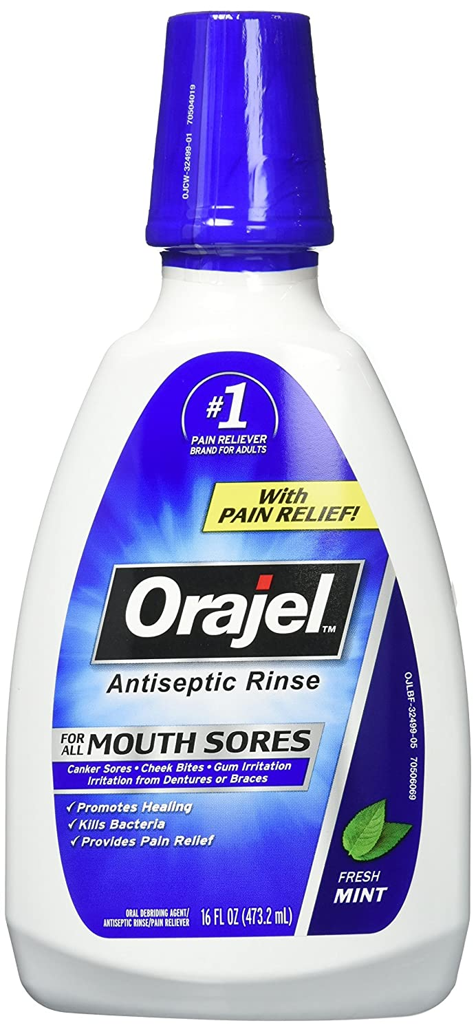 Orajel Antiseptic Mouth Sore Rinse 16 oz (Pack of 2) PPAX1143490