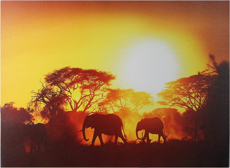 Elephants Sunset Africa Safari SINGLE CANVAS WALL ART Print Picture