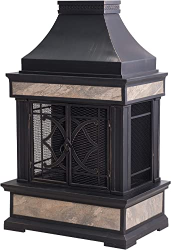 Sunjoy A304001000 Heirloom Slate Wood Burning Fireplace, Color Black