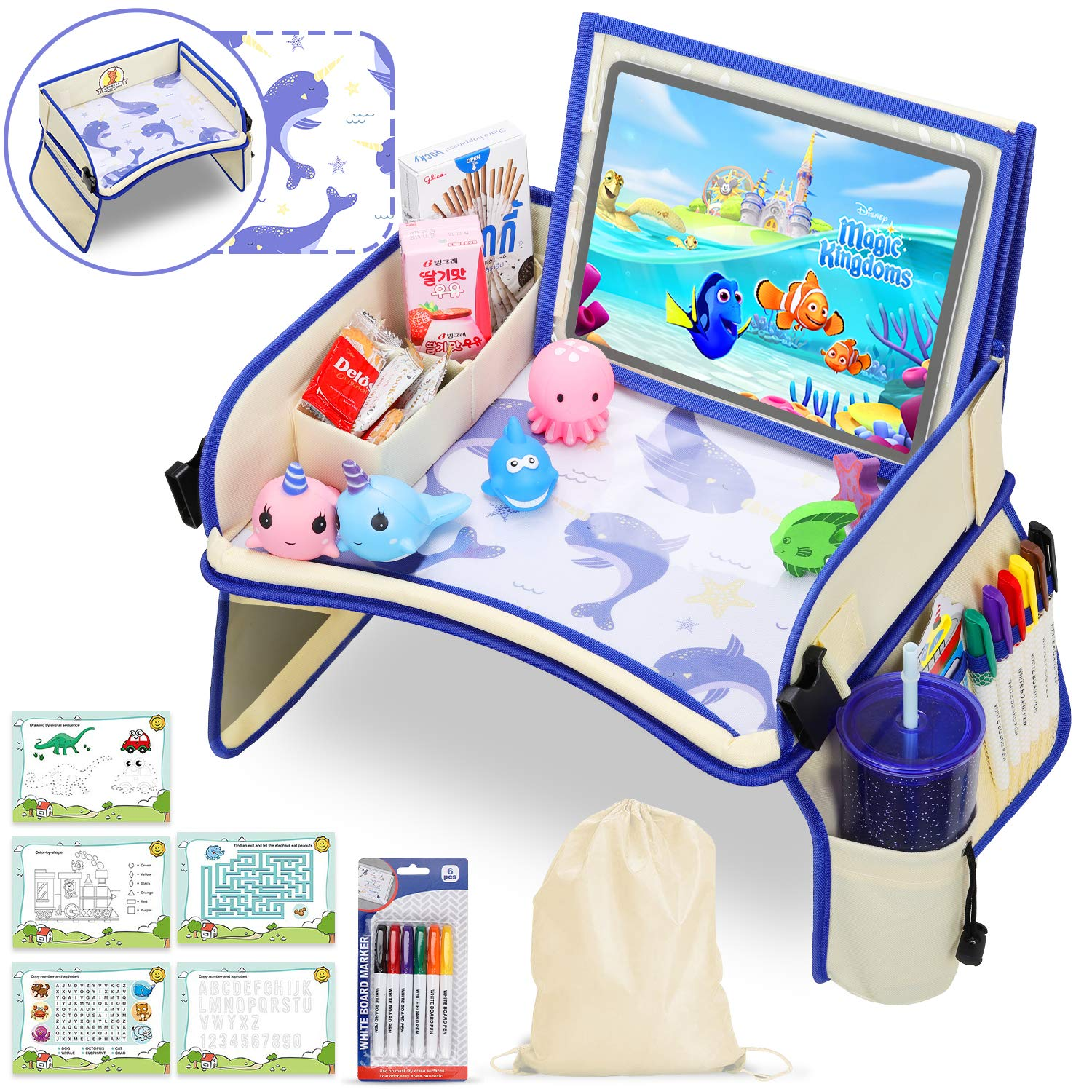 Kids Travel Tray, Car Seat Tray with XL (14.5 Inch) Detachable iPad Tablet Pocket Dry-Erase Desktop Car Seat Table with 5 Drawing Papers & Back Storage Pocket, Narwhal by MOOMKEY
