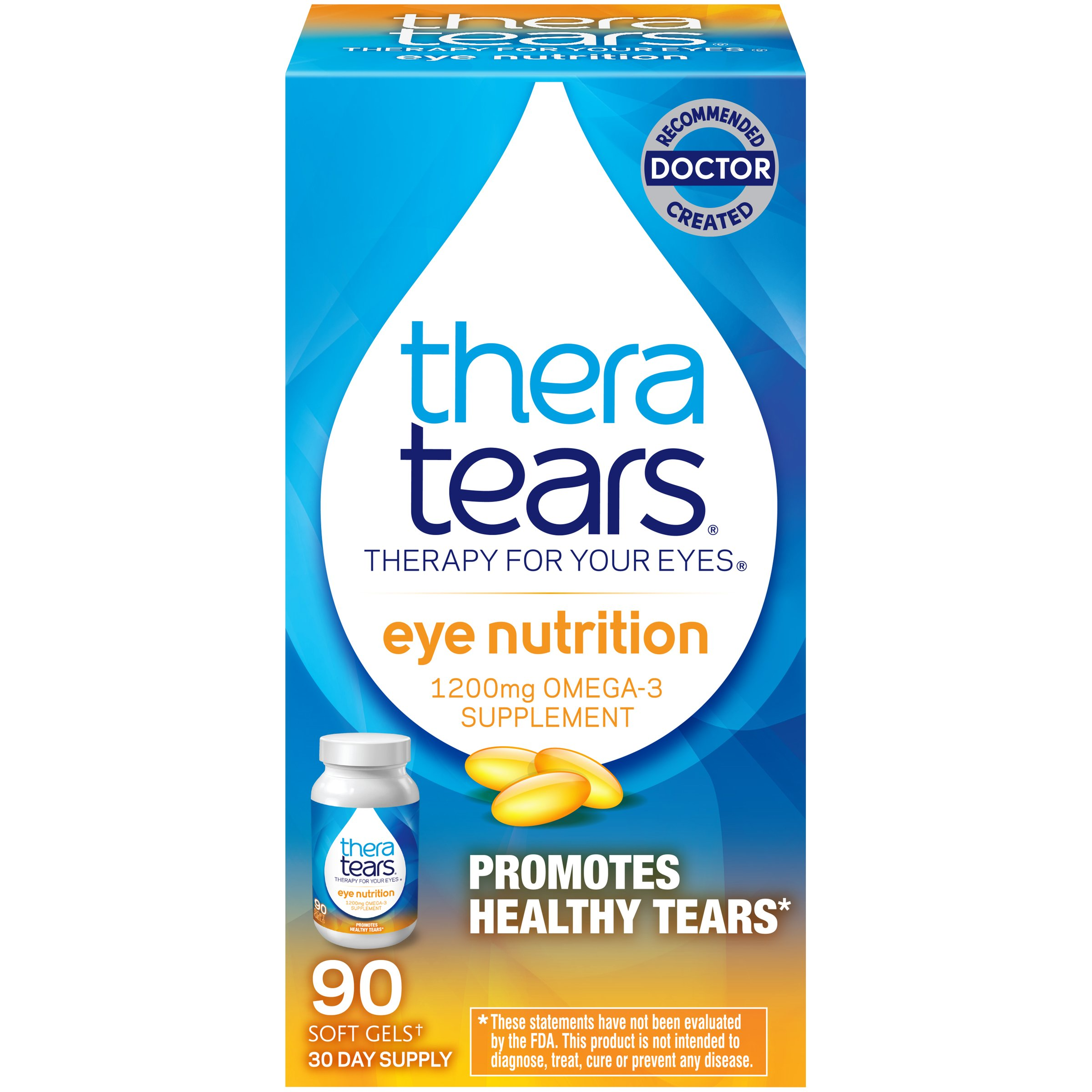 TheraTears 1200mg Omega 3 Supplement for Eye Nutrition, Organic Flaxseed Triglyceride Fish Oil and Vitamin E, 90 Count by Thera Tears