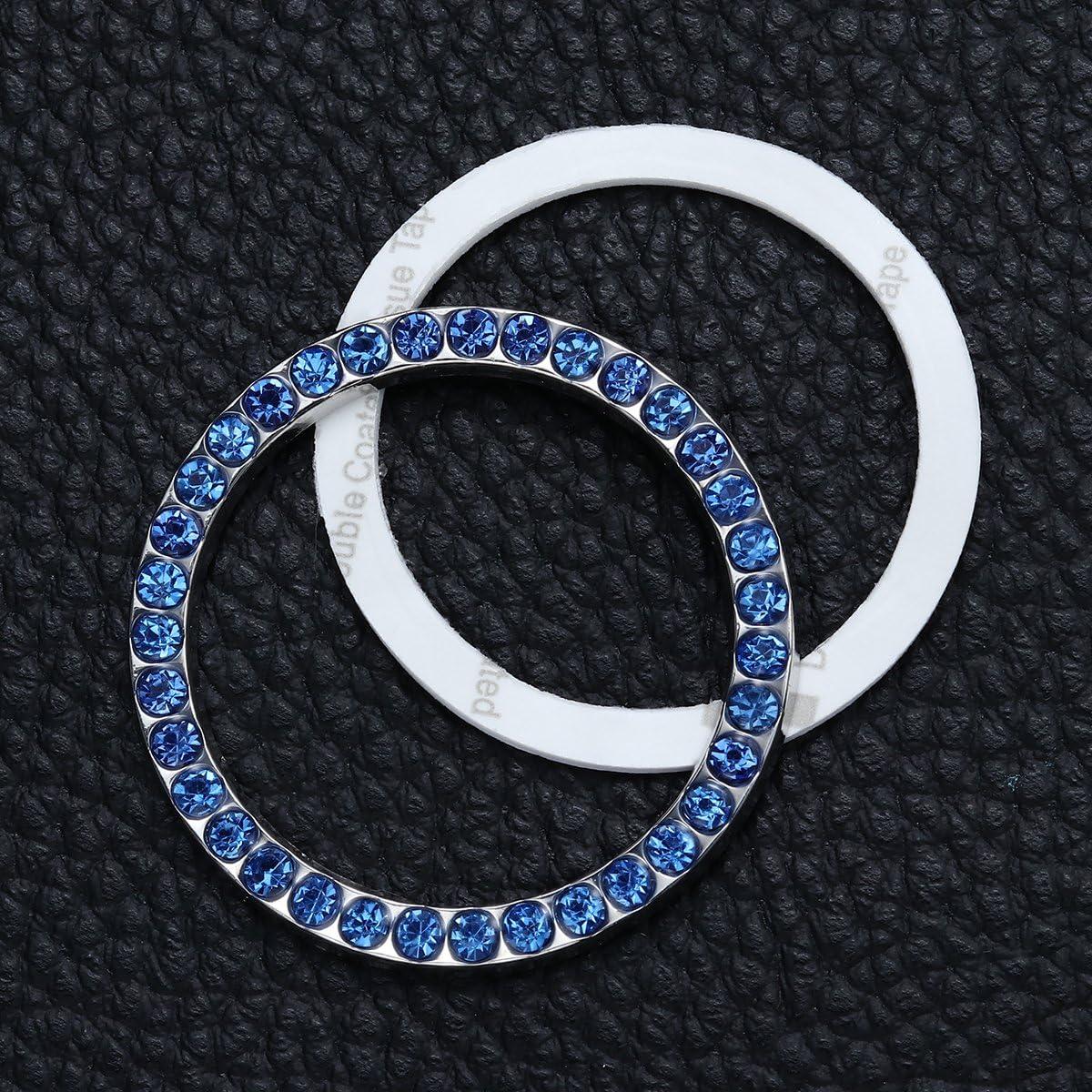 WINOMO Auto Engine Start Stop Button Ring Crystal Bling Rhinestone Car Decor Accessories Blue