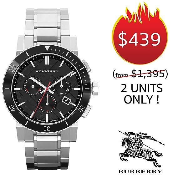 Burberry Swiss BU9380 - Reloj cronógrafo para Hombre (Acero Inoxidable, Bisel de cerámica, Esfera con Fecha de caducidad), Color Negro: BURBERRY: Amazon.es: ...