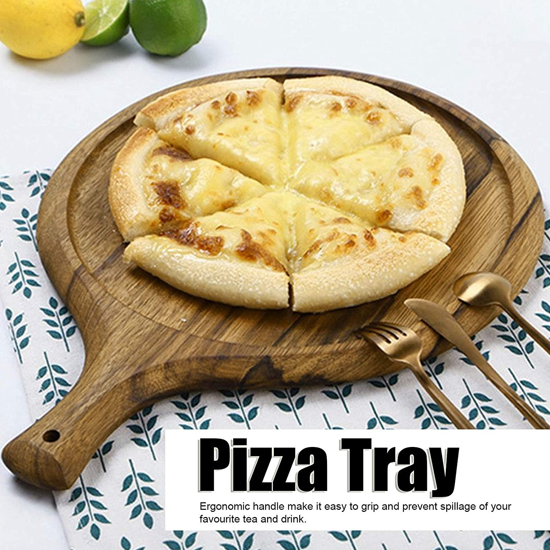 Pizza Peel Multifunci/ón como Tabla de Cortar Bandeja Redonda de Madera para Servir Queso con asa Bandeja para Hornear Herramientas para Hornear de Cocina para el hogar