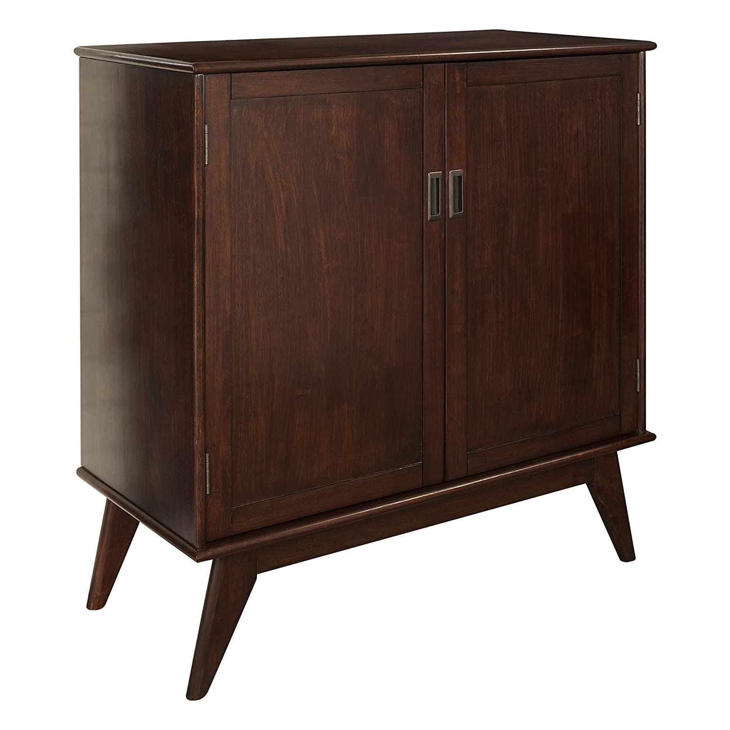 Amazon com simpli home 3axcdrp 06 draper solid hardwood mid century medium storage cabinet in medium auburn brown kitchen dining