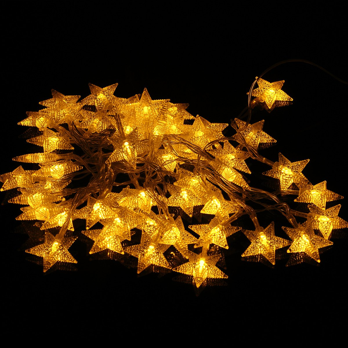 amazoncom remote timer battery operated christmas star led string lights 16 feet 50 led fairy string lights for indoor outdoor garden - Amber Christmas Lights